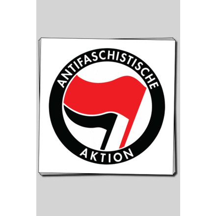 Sticker Antifa Logo (Rund, 10cm, 20 Stck)