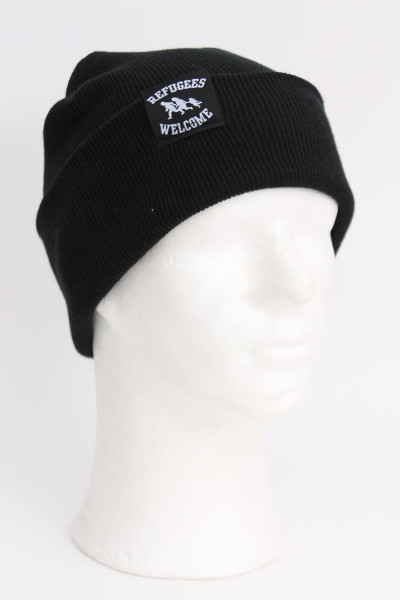 True Rebel Beanie Refugees Welcome Black