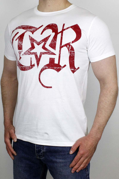 True Rebel T-Shirt TR Logo White Burgundy