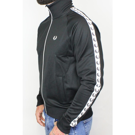Fred Perry Track Jacket Laurel Taped Black