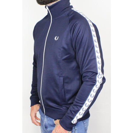 Fred Perry Track Jacket Laurel Taped Carbon Blue