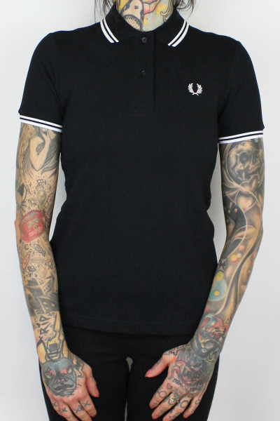 Fred Perry Ladies Polo Twin Tipped Black