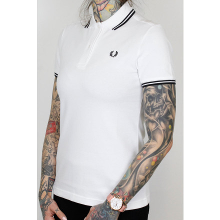 Fred Perry Ladies Polo Twin Tipped White