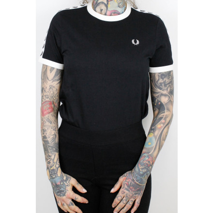 Fred Perry Ladies T-Shirt Taped Ringer Black