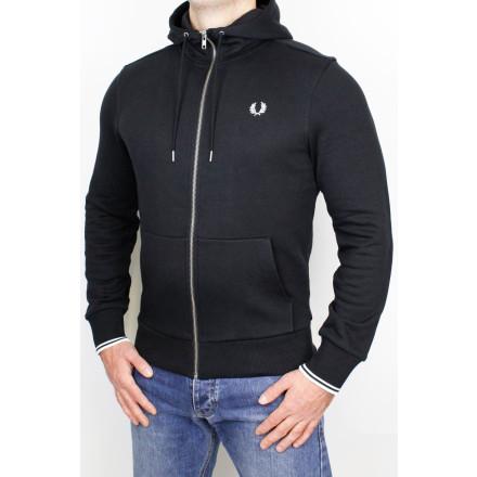 Fred Perry Hooded Zip Sweatshirt Black