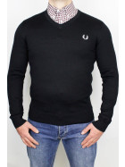 Fred Perry V Neck Jumper Classic Black