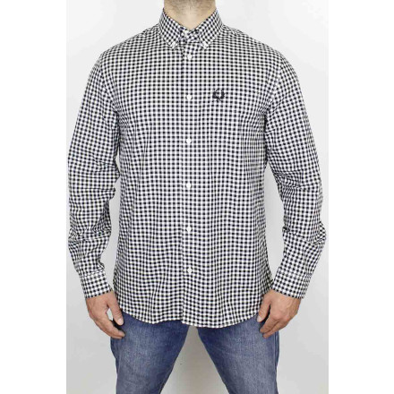 Fred Perry Shirt Gingham LS Black