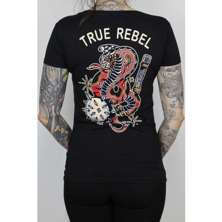 True Rebel Ladies Stretch Shirt Flail Black