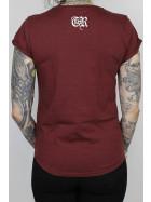 True Rebel Ladies Shirt AFA 2.0 Pocket Print Burgundy