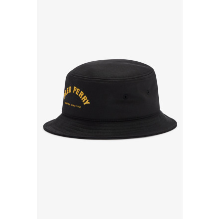 Fred Perry Bucket Hat Arch Branded Tricot Black