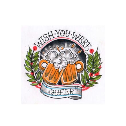 Sticker Wish You Were Queer (10x10cm, 25 Stck)