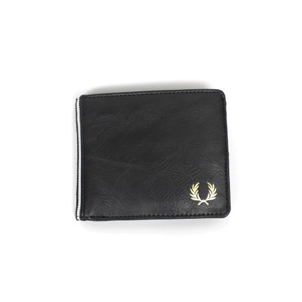 Fred Perry Wallet B Fold Flat Knit Tipped Black Porcelain