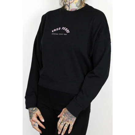 Fred Perry Ladies Sweater Arch Branded Black