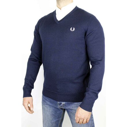 Fred Perry V Neck Jumper Classic Navy