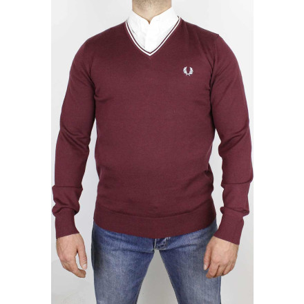 Fred Perry V Neck Jumper Classic Aubergine
