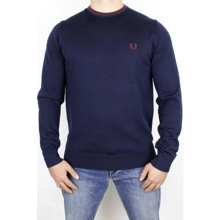 Fred Perry Jumper Classic Crew Neck Navy Aubergine
