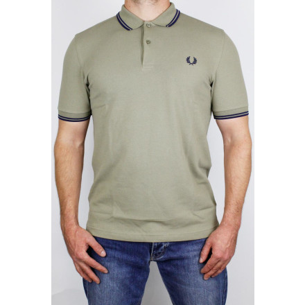 Fred Perry Polo Shirt Twin Tipped Sage French Navy