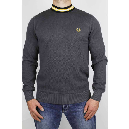 Fred Perry Jumper Striped Neck Gunmetal