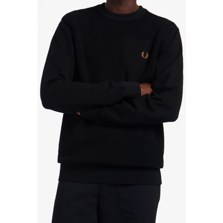 Fred Perry Jumper Textured Merino Black