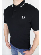 Fred Perry Polo Shirt Twin Tipped  Black Porcellain