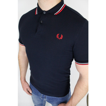 Fred Perry Polo Shirt Twin Tipped Navy White